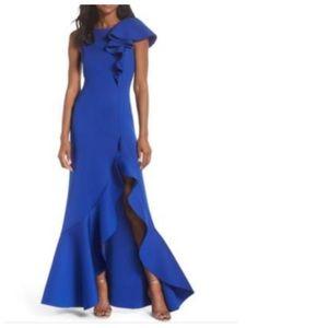 Eliza J Blue Scuba Ruffle Shoulder Side Slit Gown